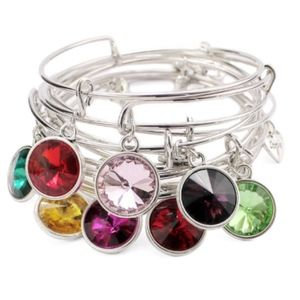 Birthstone Crystal Color Gem Charm Bangle Bracelet